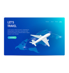 Travel or tourism airplane on background of vector