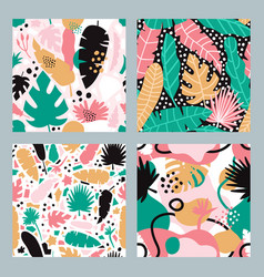 Tropical abstract patterns hand drawn seamless vector