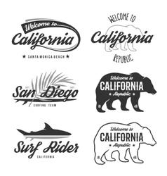 Vintage monochrome California badges vector