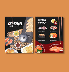 Watercolor concept creative sushi menu vector