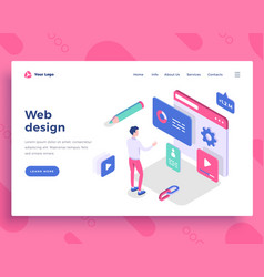 Web design concept man interact with web site vector