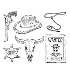 wild west rodeo show cowboy or indians vector image