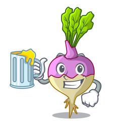 With juice rutabaga cartoon sale in the market vector