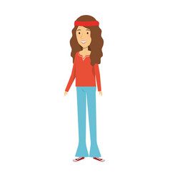 Woman character hippy lifestyle vector