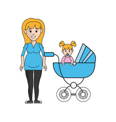 Woman pregnant and her baby icon vector