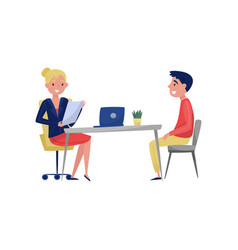 young man having job interview with hr specialist vector image