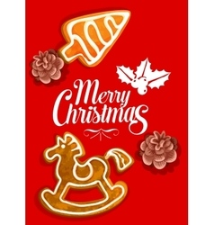 Christmas holiday greeting card with gingerbread vector image vector image