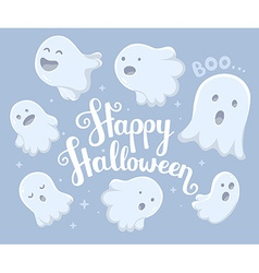 halloween of many white flying ghosts with e vector image vector image