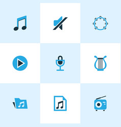 music colored icons set collection of microphone vector image vector image