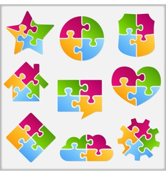 Puzzle Objects Collection vector image vector image