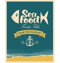 Retro banner for seafood restaurant vector image vector image