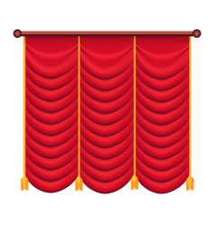 Classic heavy red drape with gold tie back vector