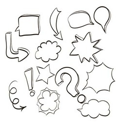 set of clouds conversations characters and various vector image vector image