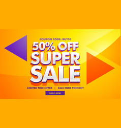 super sale advertising banner template for vector image vector image