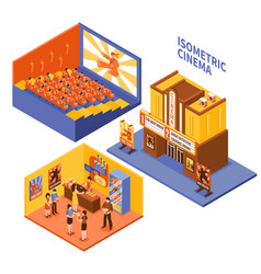 cinema isometric compositions set vector image vector image