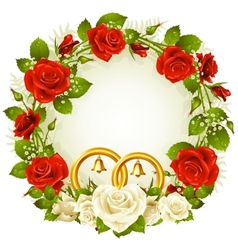 flower frame white and red rose vector image vector image