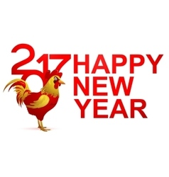 Happy New Year Greeting card for 2017 with Rooster vector image vector image