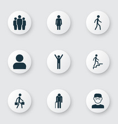 people icons set collection of jogging grandpa vector image vector image
