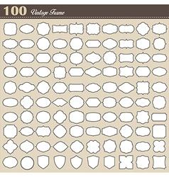 Set of 100 blank vintage frame on white background vector image vector image
