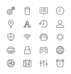 Setting thin icons vector image