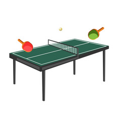 table tennis with green field wooden rackets and vector image vector image