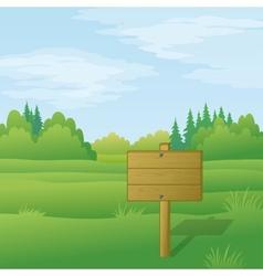 Wood sign on summer landscape vector image