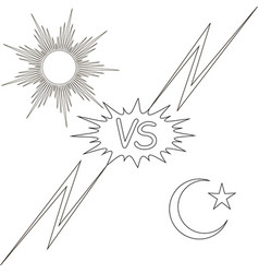 day and night vs the sun and the moon star vector image