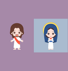 jesus and mary cute character flat design vector image