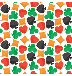 seamless pattern with colorful playing card icons vector image