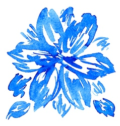 Watercolor hand drawn flower with leaves vector image vector image