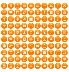 100 conference icons set orange vector