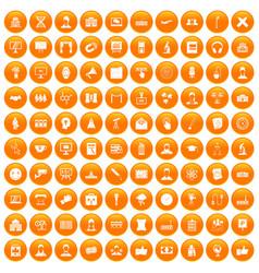 100 conference icons set orange vector image