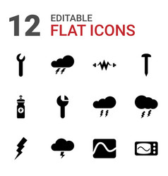 12 bolt icons vector