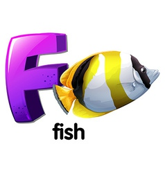 A letter F for fish vector image