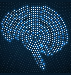 abstract brain of glowing radial dots vector image