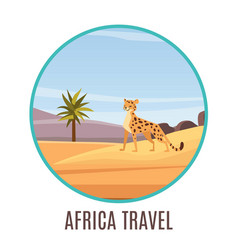 Africa travel badge with cartoon african landscape vector