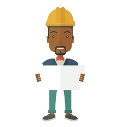 African-american Construction worker holding the vector