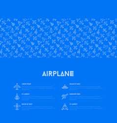 airplane concept with thin line icons vector image