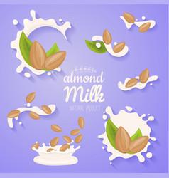 Almond in milk splash big splash set vegan vector