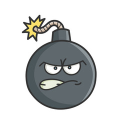 Angry cartoon bomb with burning wick vector