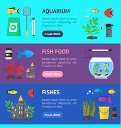 aquarium banner horizontal set vector image vector image