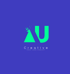 Au letter logo design with negative space concept vector