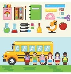 Back to school Children with bus vector image