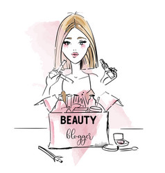 Beauty blogger vector
