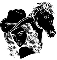 black silhouette girl dressed as a cowboy vector image