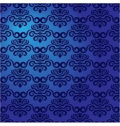Blue damask pattern vector image