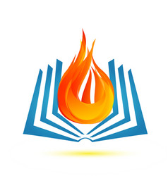 Book on fire flame icon logo vector