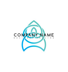 Business emblem blue knot symbol curve looped vector