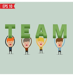 Business man showing Team 3d text - - EPS10 vector image