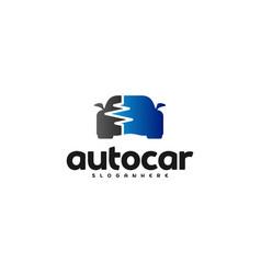 car pulse logo template car repair logo design vector image